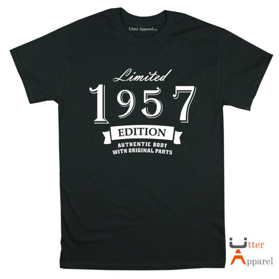 Limited 1957 Edition crew neck t shirt 60th birthday gift man son father grandfather brother uncle size S-2XL authentic body original parts