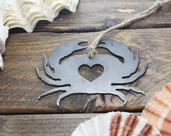 Crab Christmas  Ornament Metal Heart Holiday  Decor Rustic Wine Accessory  Stocking Stuffer Gift Wedding Favor By BE Creations
