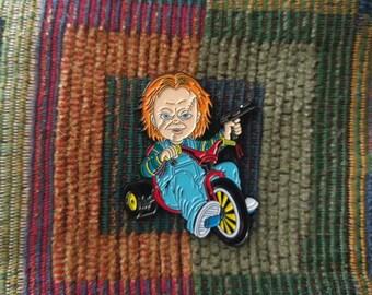 1980's Horror Movie Chucky on Big Wheel Bike 80's Gore Film Enamel Lapel Hat Pin