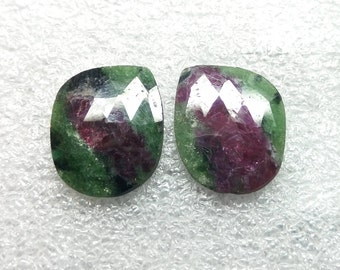 50% OFF - Natural Ruby Zoisite Gemstone Rose Cut Ruby Zoisite pair Stone 17x14 mm