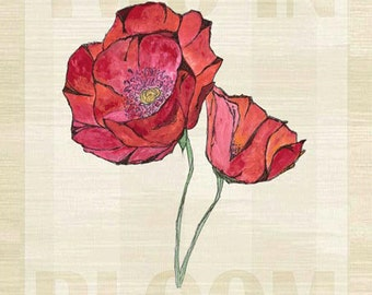 Two in Bloom Red Poppies Metal Sign, Flowers, Charming Wall Art, Garden, Spring   JP1105