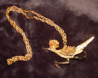 Vintage Gold Road Runner Necklace Extra Large Gold Tone RoadRunner Long Pendant Necklace