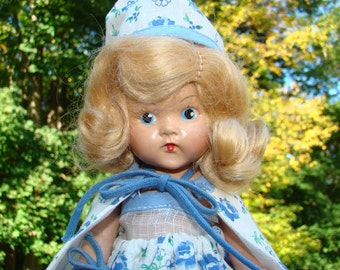 1950-51 Painted Eye Hard Plastic Ginny Doll in Blue Print Sunsuit Cape Purse Hat Vogue 8 Inch