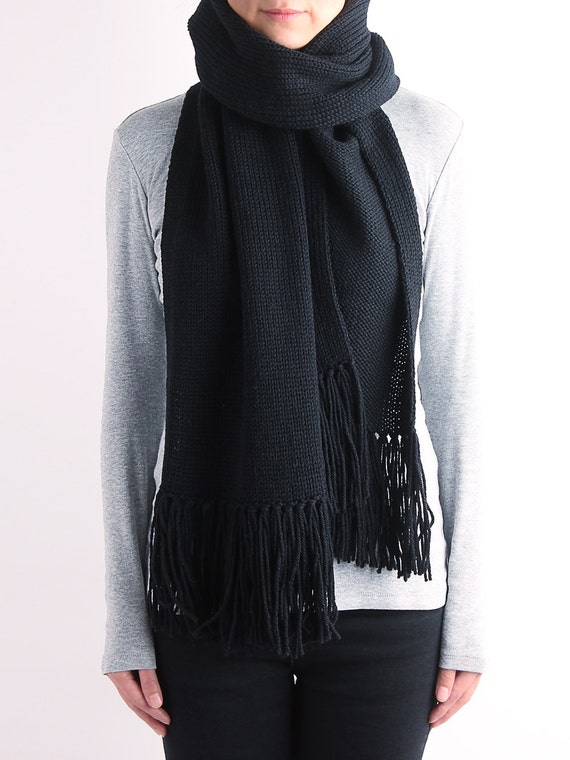 Knitting Pattern For A Long Scarf : Knit scarf long knit scarf fringe knit scarf chunky knit