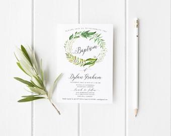 Baptism Invitation Printable, Baptism Boy Invitation Printable, Printable Invitation Green Leaves nature Invite, Christening invitation Boy