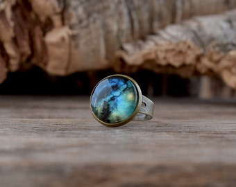 Blue galaxy ring, Turquoise universe ring, Space ring, Galaxy jewelry, Blue universe lover gift, Science jewelry, Adjustable ring UJ 054