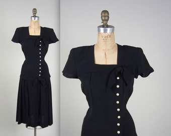Vintage 1940s Dress // 40s Classy Black Evening Dress // Dropwaist // Size Small //Vintage Hollywood // First Lady Dress // Princess Diana
