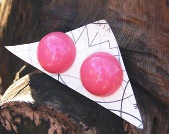 Vintage 1980s Bubblegum Pink Half Sphere Round Earrings / Costume Jewelry
