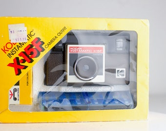 Kodak Instamatic X-15F Unused in Box 126 Format Film Camera with Kodacolor 2 Film, Flash Strip, Strap, Manuals, Box
