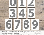 8.5x11 Photo Template Pack, Numbers Template Pack, Number Templates, Photo Collage Templates, Numbers 0 thru 9, Photography Template, Album