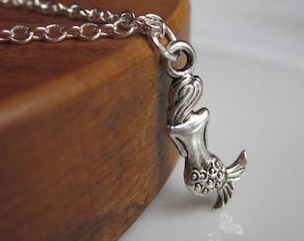 Mermaid necklace, little mermaid, girls gift idea, girls jewellery, cute necklace, silver necklace, jewellery UK, silver jewellery girls