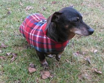 Dachshund Jacket~Reversible Fleece Dog Jacket~Red&Blue Plaid Fleece Print~Double Fleece Coat~Dachshund Clothes~Fleece Dog Jacket~Weiner Coat
