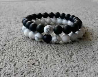 Couples Bracelet, Set (2) Bracelet, Friends Bracelet, Distance Bracelet, Black Onyx, White Howlite Bracelets, For Couples
