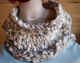 Chunky Granola Handspun Thick and Thin Cowl