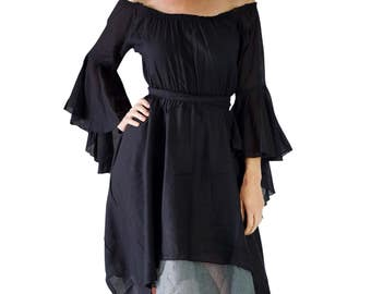 GYPSY DRESS Bell Sleeves Black - Women's Renaissance Festival Black Pirate Costume, Medieval Gown, Peasant Wench, Lightweight Cotton Fabric