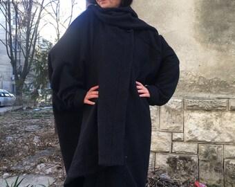 Womens oversized coat cardigan,Navy loose coat, Shawl collar cardigan,Lagenlook Spring Cardigan,Asymmetrical Blanket Coat, Cape Coat