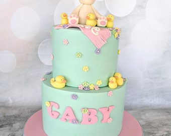 Fondant Bunny cake topper with duckies, flowers, name and smash cake accessories