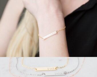 Bar Bracelet, Personalized Bracelet, Hand Stamped Name Bracelet, Customized Gift, Bridesmaid Gifts, VV Jewelry Initial Bracelet