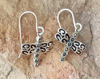 Sterling  Dragonfly Earrings~Cut Marcasites & Sterling Silver 925~Petite Dangle Earrings~Thai Silver~Dragonfly Jewelry~by JewelsandMetals.
