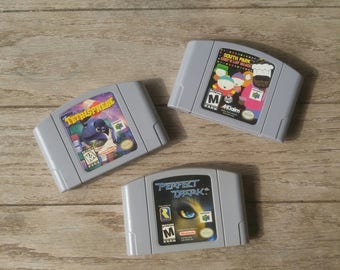 NINTENDO 64 Game Cartridges - Small Lot - South Park Chef's Luv Shack - Perfect Dark - Tetrisphere - N64 Video Games - Original  90s 1990s