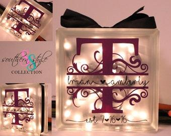 Glass block with lights, Newlywed Gift, Wedding Gift, Monogrammed Gift, Custom Night Light Block