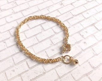 Gold bracelet cuff 5mm Simple Chain Rope Bracelet Gold bangle cuff Gold chain bracelet Simple Everyday Bracelet Chain Bracelet Gold bangle