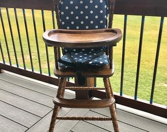 High chair cushion / wooden high chair pad/highchair cover / highchair cushion / highchair pad / vintage.  Navy Polka Dot