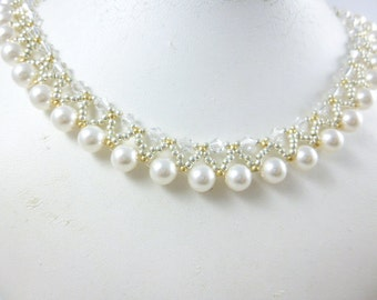 Bridal necklace, Pearl and crystal necklace, Wedding Necklace,Bridal Pearl Necklace, Pearl Necklace, Crystal necklace