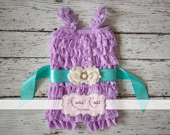Lavender Lace Romper & Sash, Ruffle Rompers, Baby 1st Birthday Outfit, Cake Smash Outfit, Baby Toddler Girls Romper, Lace Romper, 3Mo - 8Yr