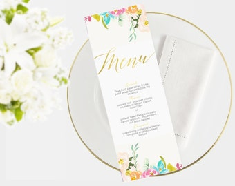 Wedding Menu Template | Instant Download  | Printable menu |  DIY I Pastel floral