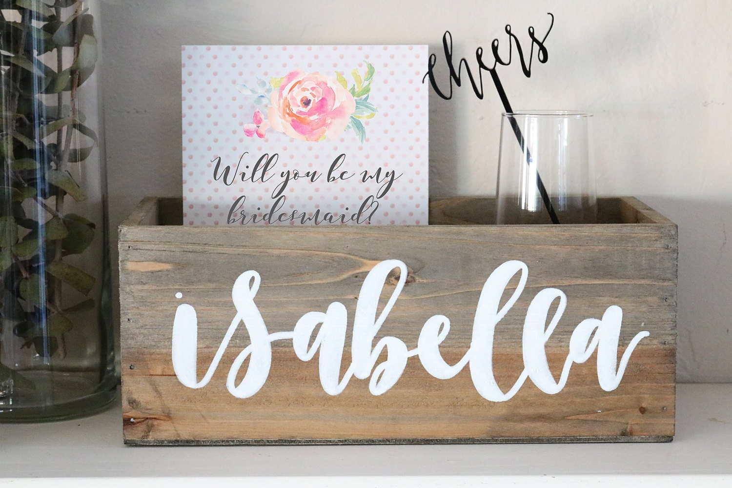 custom hand lettered calligraphy keepsake wood box: bridal party gift | will you be my bridesmaid | bridal box | baby shower gift box
