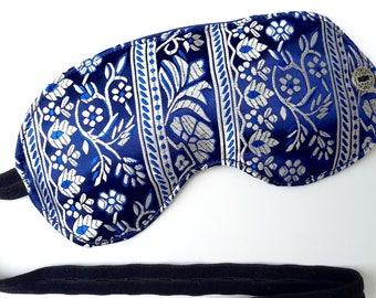 Blue Sleep Mask, sleep eye mask, sleep, sleeping mask, travel mask, travel accessories, spa mask, blindfold, adjustable strap, Brocade