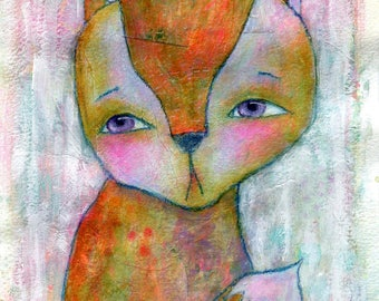 Foxy - original painting on paper 8x6in, mixed media art