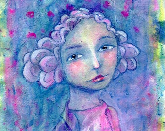 Marcelline - original painting on paper 8x6in, whimsical mixed media art girl