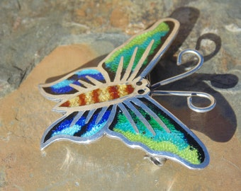 Jeronimo Fuentes ~ Vintage Sterling and Colorful Enamel Butterfly Pin / Brooch