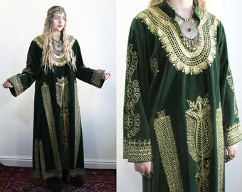 1970's Turkish Velvet Gold Embroidered Tunic Dress