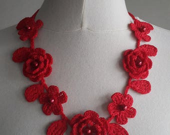 Crochet Rose Necklace,Crochet Neck Accessory, Flower Necklace, Red, 100% Cotton.