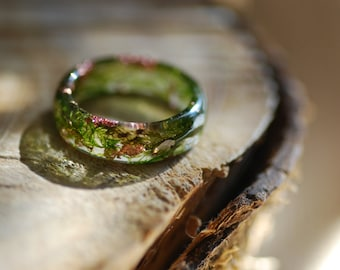 Moss Ring, Terrarium Green Ring, Nature Resin Ring, Copper Flakes Moss Forest Ring, Magic Fairy Ring, Botanical Spring Jewelry, Gift for Her