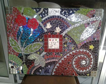 Mosaic Red Rose Tile Wall Hanging...Colorful...Exotic Mirror Tiles...Mixed Media...Hand Cut..Ceramic Inserts...Birds..Flowers...Welcome Sign