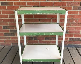 Vintage Mid Century White and Green Rolling Metal Kitchen Cart 3 Tiers Bar Cart Shabby Chic