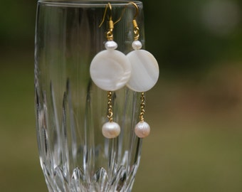 Gold Pearl Earrings, Freshwater Pearl Earrings, Gold Mother-of-Pearl Earrings, Long Earrings, Unique Earrings- ALL MY MIGHT