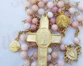 Rosary - Pink Opal with Eucharist & Jesus with Crown of Thorns Rosary