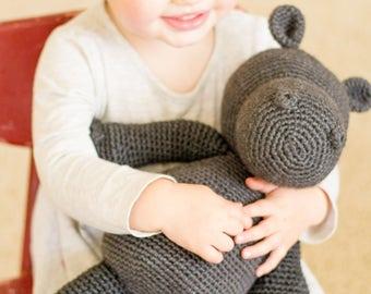 READY TO SHIP   Crochet Animal   Harry the Hippo in Charcoal Heather   Amigurumi   Crochet Hippo