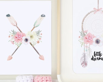 Flowers and Arrows Print