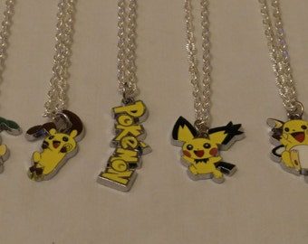 Free Shipping Pokemon Necklace, Minun Necklace, Plusle Necklace, Pichu Necklace, Raichu Necklace, Pokemon Charm
