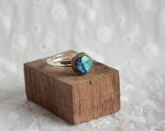 Turquoise blue ocean ring, sterling silver and wood blue gem ring, nature adjustable silver ring, reclaimed twig ring, unique rings for her