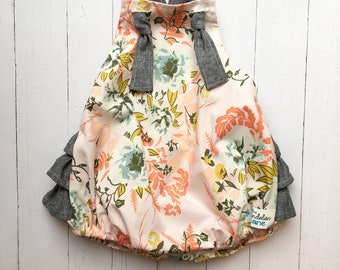 Baby Pink Floral Romper , Pink Romper , Pink baby Romper , Pink Toddler Romper , Linen Baby Romper , Spring Romper , Vintage Baby Romper