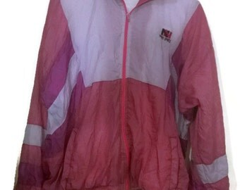 Vintage 90s WIndbreaker Pastel  VINTAGE 80s90s WINDBREAKER pastel Pink L ZipUp Pastel Colorblock Nylon Windbreaker
