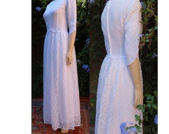 1960s french sheer lace bridal gown wedding DRESS // size eu 38 -uk10-us 6