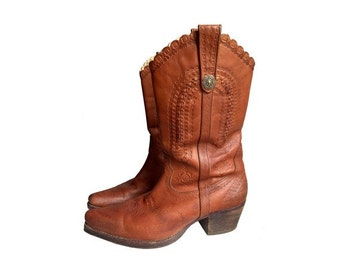 VTG mexican tooled leather natural tan cowboy BOOTS // size eu 39 - uk 5.5-us7.5
